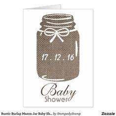 Rustic Burlap Mason Jar Baby Shower Invitation