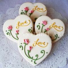 "Handmade 2016 Valentine's Day heart sugar cookies with cottage rose and ""LOVE"" letters decor - Valentine's Day snacks recipe - ♣hurry up! super bowl dip recipes banana oatmeal valentine cookie 2016 by diprecipe Fancy Cookies, Heart Cookies, Iced Cookies, Cute Cookies, Sugar Cookies, Valentines Day Cookies, Christmas Cookies, Birthday Cookies, Valentine Heart"