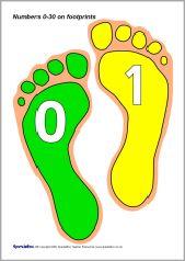 Numbers 0-50 on footprints (SB1460) - SparkleBox