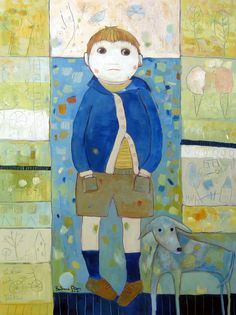 A Boy with his dog © Barbara Olsen 30x40 on canvas Muse Fine Art, Roswell Ga