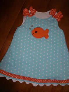 Goldfish dress embroidered with your childs name
