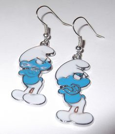 "GRUMPY SMURF EARRINGS 1"" long"