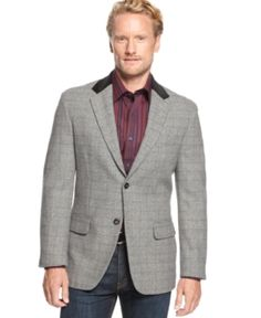 $84, Plaid Wool Blend Blazer by Tasso Elba. Sold by Macy's. Click for more info: http://lookastic.com/men/shop_items/84249/redirect
