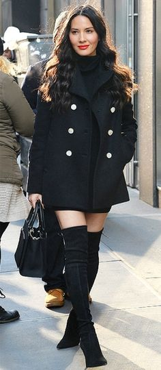 Olivia Munn in a black turtleneck, black Tory Burch peacoat and thigh-high boots - click through for two more ways she wears the coat!