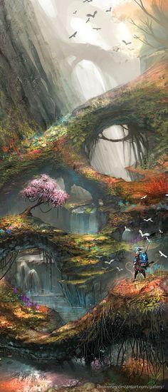 paintings video games landscapes forest birds illustrations fantasy art digital art artwork drawings_www.wallpaperhi.com_9.jpg (800×1866)
