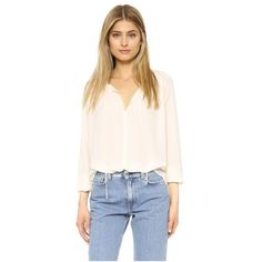 WAYF Peasant Blouse ($39) ❤ liked on Polyvore featuring tops, blouses, sand, tie-neck blouses, oversized long sleeve top, shirred top, tie top and long sleeve blouse