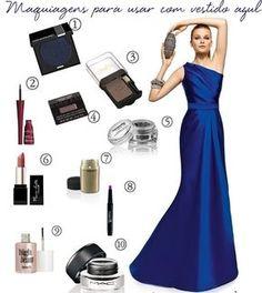 Maquiagens para usar com  vestido de festa azul