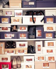 Or simply save your shoe boxes and affix photos of each pair to the front of each box.