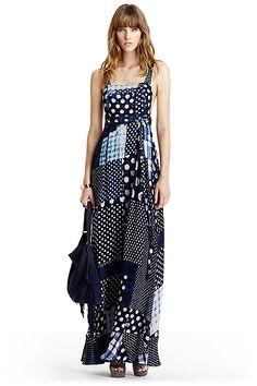 DVF Georginna Chiffon Apron Maxi Dress in in Patched Dots Denim