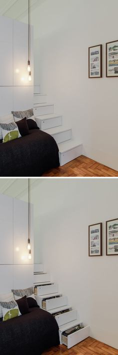 This Small Apartment Has A Pull Out Bed That Doubles As A Sofa. Bed  SofaModern ApartmentsWhite Storage CabinetsWhite ...
