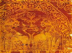 9th - 10th Century AD: Two lions. Silk serge. Fragment. The bottom half and parts of the surround on both left and right are missing. From the Sancta Sanctorum. Byzantine. Museo Sacro, Vatican, Italy.
