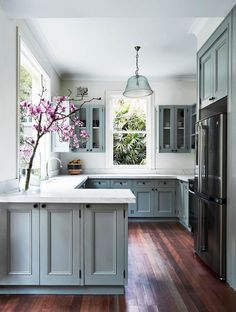 Refacing Kitchen Cabinets, Farmhouse Kitchen Cabinets, Modern Farmhouse Kitchens, Kitchen Cabinet Design, Kitchen Countertops, Soapstone Kitchen, Gray Cabinets, Farmhouse Decor, Kitchen Cabinetry
