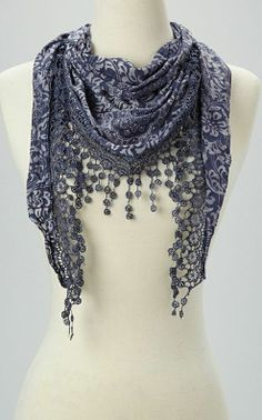 Navy Crochet Tassel Scarf   Beautiful. I like the color and detail without having a crazy pattern