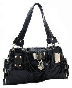 SEY Sweet Black Bow / Heart Lock PU Patent Leather Satchel Bowler Hobo Handbag Purse