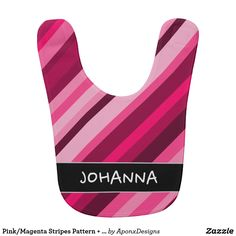 Pink/Magenta Stripes Pattern Custom Name Baby Bib Baby Bibs, Baby Names, Magenta, Stripes, Bra, Pattern, Pink, Girly Things, Color