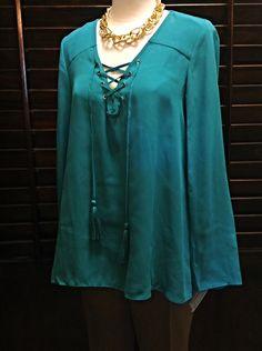 Zac & Rachel  - Deep teal lace-up tunic - $46