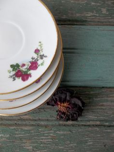 Antique Bone China Saucers. Rosebuds. Cottage by 3vintagehearts