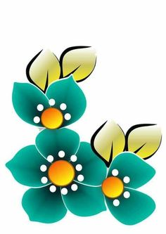 Flower Designs For Painting, Fabric Paint Designs, Flower Tattoo Designs, Star Painting, Fabric Painting, Flower Prints, Flower Art, Beautiful Flower Drawings, Bird Houses Painted