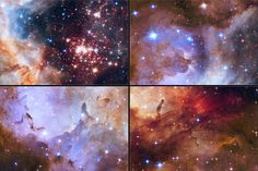A glittering tapestry of young stars flares to life in these detailed close-up NASA Hubble Space Telescope photos of star cluster Westerlund 2 that are being released in celebration of Hubble's 25 years of exploring the universe since its launch on April 24, 1990. Credits: NASA/ESA