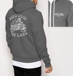 Ride Fast - Mens Back Print Fleece Zip Hoodie