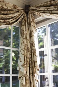 Corner window treatment idea | But could do this on a long window putting a cornice at each end and at two points along the window.                                                                                                                                                     More