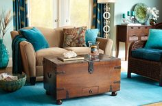 Teal Brown - Love that Combo   • Pier One, I have three of the brown peacock pillows......need the teal velvet ones :-)