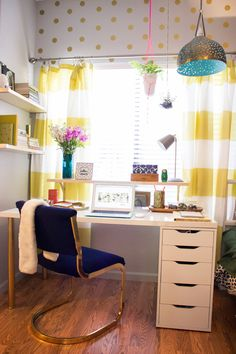 See the little shelf attached to desk and above it; add to studio desk in front of window.