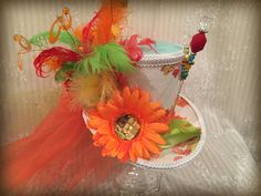 Multi-colored Mad Hatter Mini Top Hat Steampunk by MKButlerDidIt