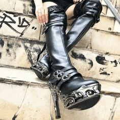 59f2dac1cabc One of a Kind Steampunk Goth Fashion Thigh High Boot #steampunk #gothboots  #veganshoes