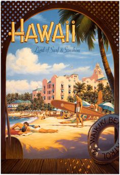 Vintage Travel Poster, the Royal Hawaiian Pink Palace - USA - Hawaii                                                                                                                                                                                 More