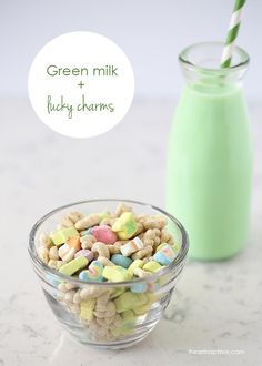 Leprechaun Breakfast! Lucky Charms is the breakfast of champions on St. Patrick's Day. Drop some green food coloring into your milk and it will blow your kids minds!