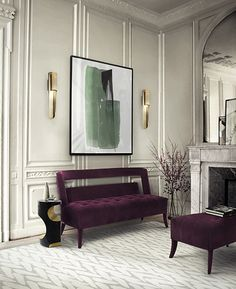 Mid century inspiration with, wall brass lamps, a purple two seaf velvet sofa, a restfoot and a side table. More home decor inspirations at http://www.brabbu.com/en/all-products.php