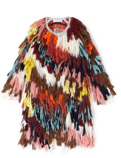 Seventies French journalist Anne-France Dautheville's motorbike voyage from Paris to Afghanistan inspired Chloé's FW16 collection, which combines Eastern craft with classic, vintage French style. A painterly palette of dusky hued, multi-textured wools is tied into the striped crochet interior using a traditional rag-rug technique. An oversized silhouette enhances the relaxed and Bohemian vibe.