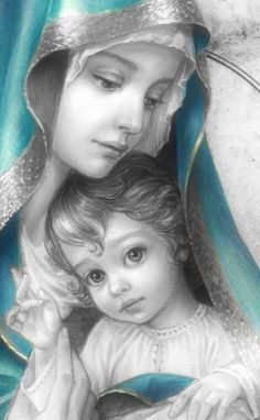 Mother Mary Images, Images Of Mary, Pictures Of Jesus Christ, Religious Pictures, Blessed Mother Mary, Blessed Virgin Mary, Mary Jesus Mother, Catholic Art, Religious Art