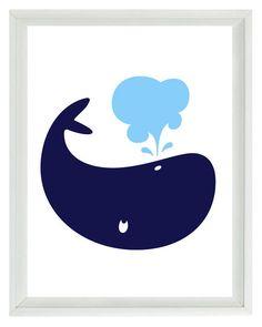 Whale Wall Art Print  - Navy Blue Light Blue White - Nautical Nursery Children Room Home Decor 8x10. $15.00, via Etsy.