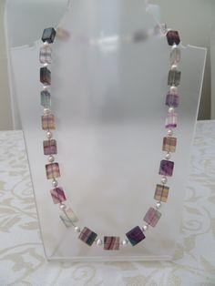 Rainbow fluorite/freshwater pearl semi by JewelInfinityBeyond