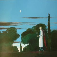 The Moon and the Poet - Stefan Caltia Magic Realism, Realism Art, Old Paintings, Art Database, Poet, Artsy, Journey, Stone, Drawings