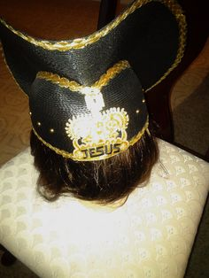 Black Church Hat Trimmed In Gold  with JESUS wrote on it Formal Hat Wedding Hat by DivaSellerBoutique on Etsy