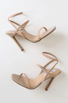 Slip on the Steve Madden Nectur Nude High Heel Sandals for an instant confidence boost! A slender toe band tops an elasticized, strappy vamp and ankle strap. Dr Shoes, Pump Shoes, Shoes Heels, Sandal Heels, Heeled Sandals, Nude Sandals, Black High Heel Sandals, High Heel Boots, Stiletto Heels