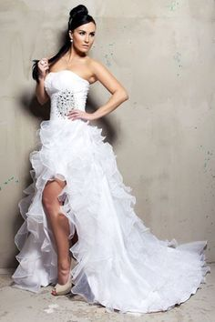 New Style White Hi-LO Wedding Dresses Fashion Strapless Bridal Gowns Formal Sexy