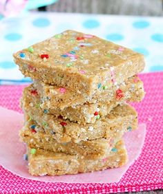 Homemade Cake Batter Energy Bars http://chocolatecoveredkatie.com/2012/06/26/cake-batter-energy-bars/