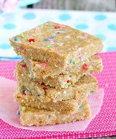Homemade Cake Batter Energy Bars http://chocolatecoveredkatie.com/2012/06/26/cake-batter-energy-bars/