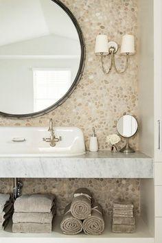 Pebbled bath wall