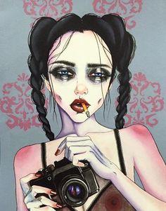 The Glass Child // Charlotte Eriksson - Harumi Hironaka Sad Girl Art, Pop Art Girl, Sad Art, Ink Tatoo, Art Sketches, Art Drawings, Marijuana Art, Cannabis, Stoner Art