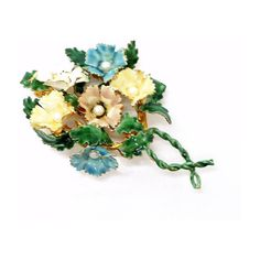 Enamel Yellow Blue Pink Green w Simulated Pearls ($75) ❤ liked on Polyvore featuring jewelry, brooches, vintage enamel jewelry, enamel brooch, blue flower brooch, pink brooch e green jewelry