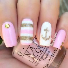 Want some ideas for wedding nail polish designs? This article is a collection of our favorite nail polish designs for your special day. Read for inspiration Nautical Nail Designs, Nautical Nails, Short Nail Designs, Cute Nail Designs, Spring Nails, Summer Nails, Cute Nails, My Nails, Wedding Nail Polish