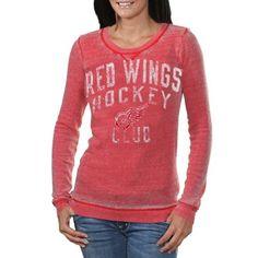 Detroit Red Wings Ladies Redzone Thermal Burnout Premium Long Sleeve T-Shirt - Red