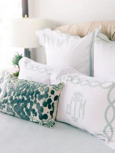 monogrammed pillows via Atlanta Homes