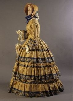 1852 Dress, American, made of silk taffeta