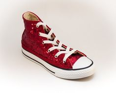7e3458f52 Custom Made Red Sequin Canvas High Top Sneakers Shoes Red Sneakers